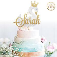 SWAN Cake Topper, Name Custom Personalised Cake Topper Princess Glitter Crown