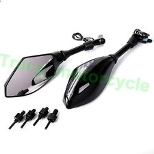 BLACK LED TURN SIGNALS REARVIEW MIRRORS FOR ALL 8MM10MM ADAPTER MOTORCYCLE BIKES