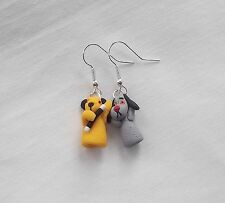 Unusual Handmade Novelty Fun Fimo Sooty & Sweep Puppet Charm - Earrings