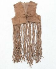 Native American Vest Leather Brown Women's Costume Indian Vintage Sleeveless Top
