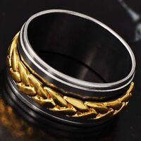 18K Gold Plated titanium Around Chain Mens Band Ring Size 10#