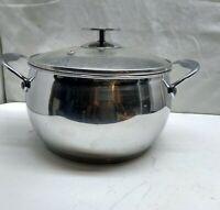 David Burke Stainless 4 Qt Saucepan Stock Fry Pot Dutch Oven Casserole Glass Lid
