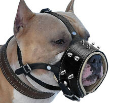 NO Biting Barking Spiked Studded Leather Dog Muzzle for Pitbull Secure Basket