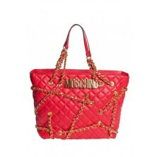 Moschino Couture Jeremy Scott Red Quilted & Chain Embellished Shopper Bag