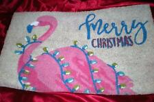 "TROPICAL PINK FLAMINGO ""MERRY CHRISTMAS"" and STRING LIGHTS COIR DOOR MAT RUG"