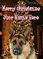 A5 Personalised German Shepherd Christmas Tree Card ANY NAME Xmas PIDXM632