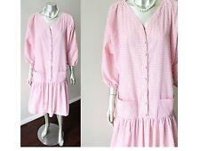 Gingham Vintage 60s Drop Waist Dolman Slv Plunging V Cotton Dress Plus Size XXL