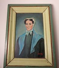 Two Small Pennsylvania Vintage Portraits Signed Wulser Oil Wood Panel Original