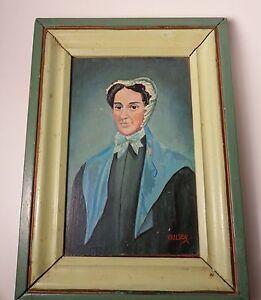 Two Small Pennsylvania Vintage Portraits Signed Wulser Oil Wood Panel Original
