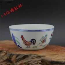 MING CHENGHUA chicken China old antique Porcelain CUP BOWL  Hand painting