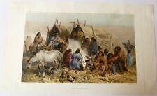"""Lithographie, BAYOT, """" Groupes de patagons"""" Dumont d'Urville"""