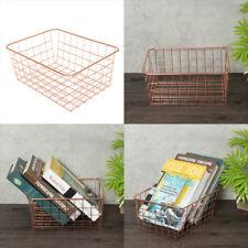 Modern Iron Copper Wire Mesh Metal Rectangular Baskets Homeware Kitchen Storage