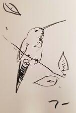 """JOSE TRUJILLO - OIL PASTELS Painting ABSTRACT Minimalism 13X19"""" HUMMINGBIRD NEW"""
