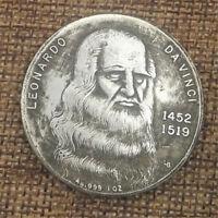 Italy Artist Leonardo da Vinci Coin Self-portrait Commemorative Coin 1452-1519