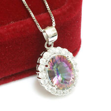 Natural Mystic Rainbow Topaz Necklace Chain Pendant 925 Sterling Silver For Girl