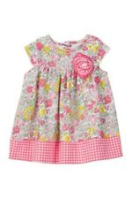 Pippa & Julie Baby Girl Pink Floral/Gingham Cap Sleeve Dress- Size 24 Months-Nwt