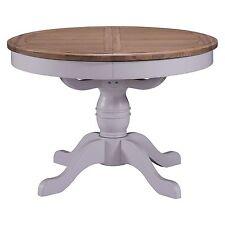 Beckett grey painted oak furniture round pedestal dining table