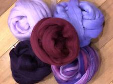 Purple Mix Spinning Felting Wool Roving Fiber -Mixed Top Roving Bag 8 oz Spin