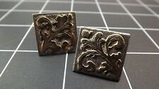 DEAD PAWN Vintage 14K Gold & Sterling Silver Hand Engraved CUFF LINKS 13.3Grams
