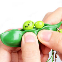3Pcs Extrusion Pea Bean Cute Soybean Edamame Stress Relieve Toy Keychain Keyring