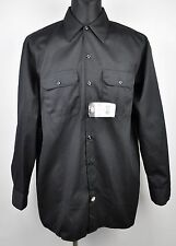 NEW DICKIES Men's Large L TALL Classic Long Working Shirt Polycotton Black Work