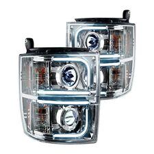 Recon 264275CLC Chrome LED DRL Bar Projector Headlights for 14-17 Silverado 1500