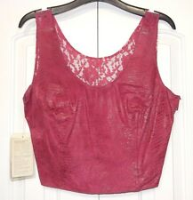 VINTAGE NEW BERMANS LEATHER & LACE CROP TANK TOP PINK SZ LARGE L