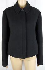 Donna Karan New York Womens 12 Black 100% Wool Leather Trim Coat