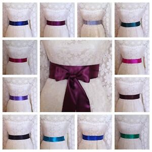 PLAIN SATIN FABRIC REPLACEMENT SASH BELT - DRESSING GOWN DRESS WRAP SELF TIE BOW