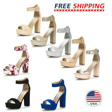 Womens High Chunky Platform Heel Open Toe Ankle Strap Stiletto Pumps Sandals US