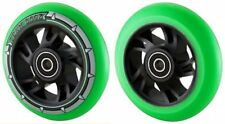 Pair Green Pu Black Swirl Core Wheels 100mm Stunt Scooter Abec11 Kid Stunt Alloy