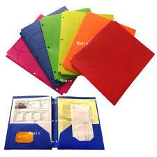 6 Pk 2-Pocket Letter Size Poly Plastic File Portfolio folders w. 3-Hole Punched
