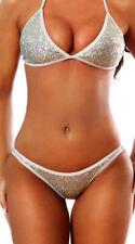 One Size Fits Most Womens New Year's Scrunch Back Panty, Silver Bikini