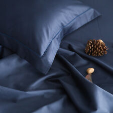 Queen Size 1800 Count Bed Sheet Set Super Soft Cotton 4Pc Sheets Sets Navy Blue