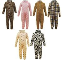 SOFT Girls Boys MINX All in One Onesie Jumpsuit Pyjamas Cow Leopard Tartan 2-13y