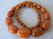 COLLIER ART DECO ANCIEN BUTTER SCOTCH AMBER BAKELITE Testée Perles Tonneau
