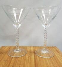 (2) New Smirnoff Citrus Twist Twisted stem Martini Glasses Acid etched logo