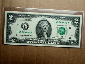 WOW  FANCY  SERIAL NUMBER  NOTE  2013 $2 TWO DOLLAR BILL UNCIRCULATED