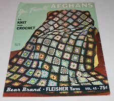 1966 Favorite Afghans to Knit Crochet Ripple Granny Square Evergreen cable knit