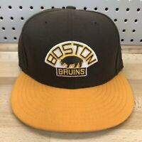 "Boston Bruins NHL ""Vintage"" Hockey New Era 59FIFTY Brown Hat Size 7-1/8 Cap"