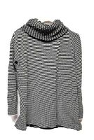"CAbi ""Fergie "" Overlapping Split Knit Black & White Turtleneck Sweater Size SM"