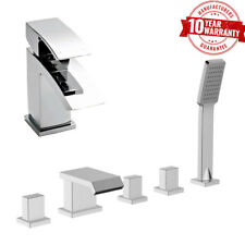 Basin Tap & 5 Hole Bath Shower Mixer Tap Square Waterfall Style Chrome Set