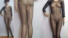 lotto 76 lingerie sexy nero rete Mesh intera SALTO Body Taglia Unica S -