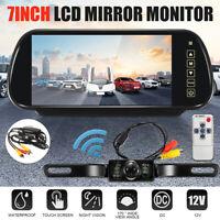 7'' LCD Mirror Monitor Night Vision Reversing Camera Wireless Car Rear View