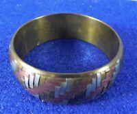 Vintage Bangle Bracelet Woven Look Three Tone Metal