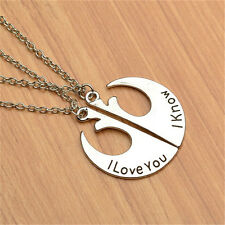 2Pcs Sweet Star Wars I love you I know Pendent Chain Necklace Love Couples Gift