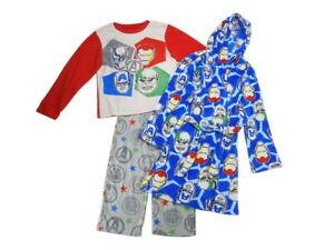 Marvel Avengers 3-Piece Boys Size Large (10) Pajama Set with Robe, Multi