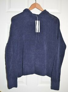 NWT $188 sz S Eileen Fisher Organic Cotton Chenille Hoodie Sweater, Midnight