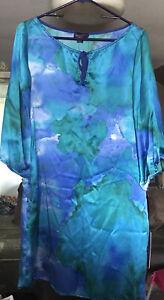 Hale Bob Short Sleeve Silk Shirt Dress   Blue Green Purple Size Large NWT