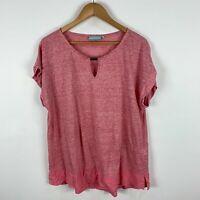 Blue Illusion Womens Linen Shirt Top XL Extra Large Pink Short Sleeve